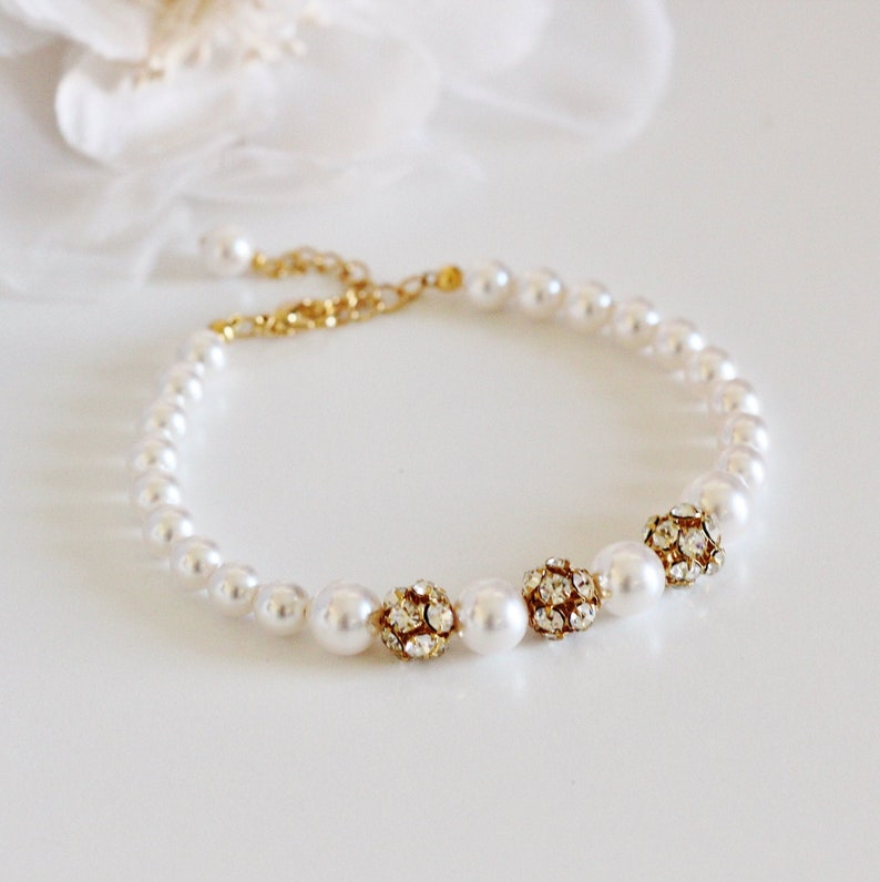 Gold or Silver Crystal Rhinestone and Pearl Bracelet image 0
