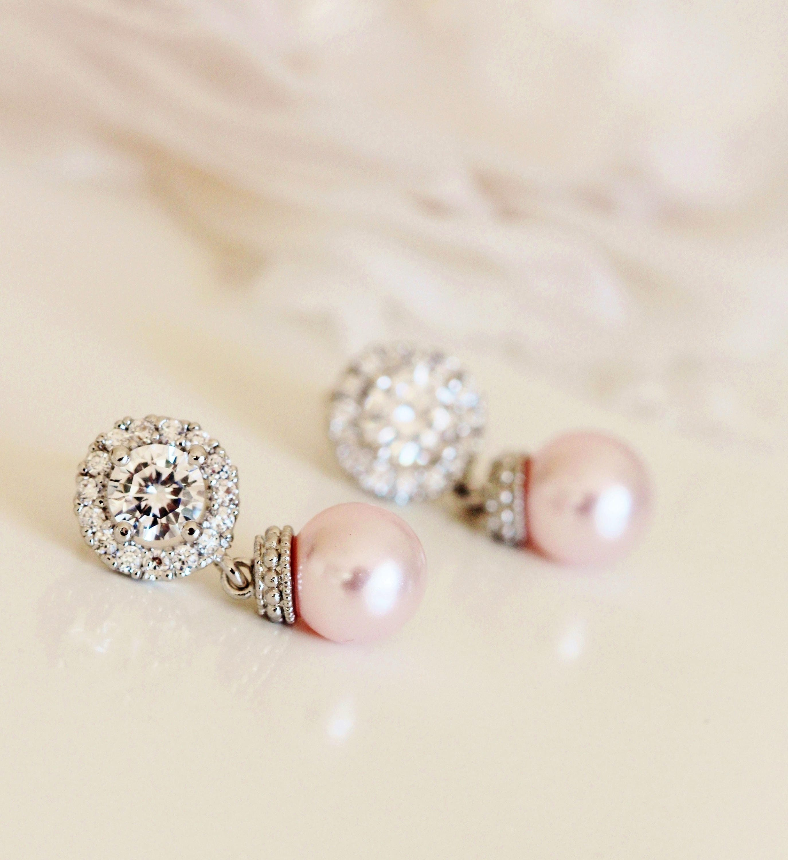 ebda964d4d020 Blush Pink Pearl Earrings, Blush Wedding Jewelry, Bridal Earrings ...