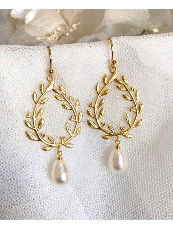 Gold Laurel Wreath Earrings Boho Wedding Earrings Bridesmaid Etsy