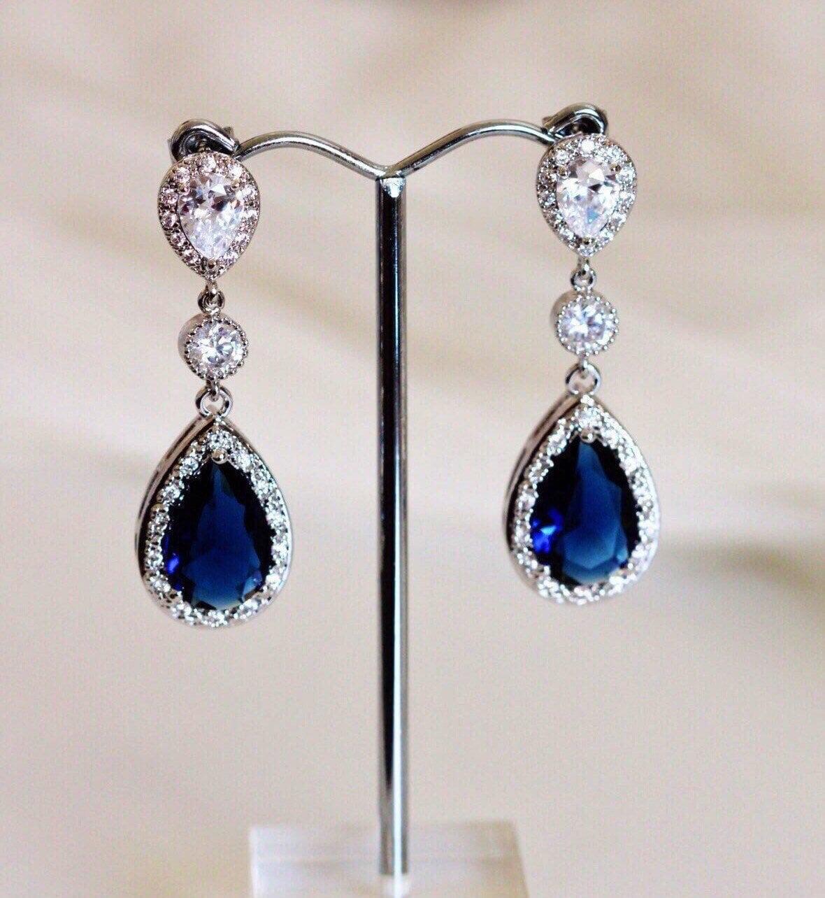 31f1841de Sapphire Blue Wedding Earrings,Teardrop Post with Something Blue ...