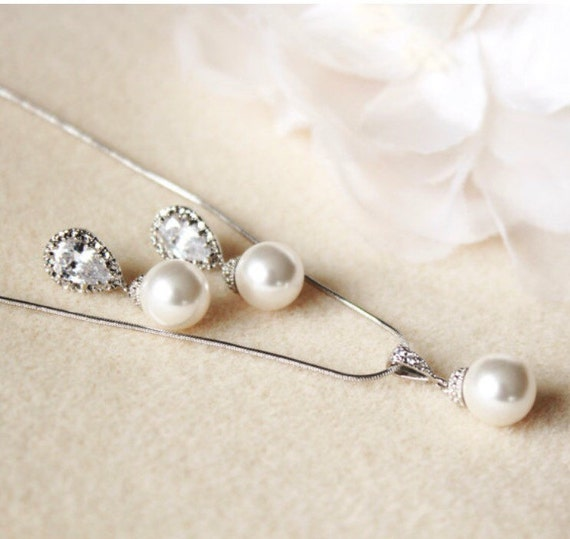 Bridesmaid Gift Set Pearl Wedding Jewelry Set Bridesmaid Etsy