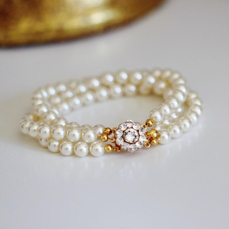 Wedding Bracelet For Brides Gold Bridal Bracelet Pearl image 0