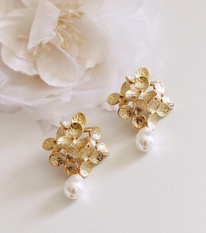 Gold Bridal Earrings Vintage Style Romantic Wedding Earrings image 0