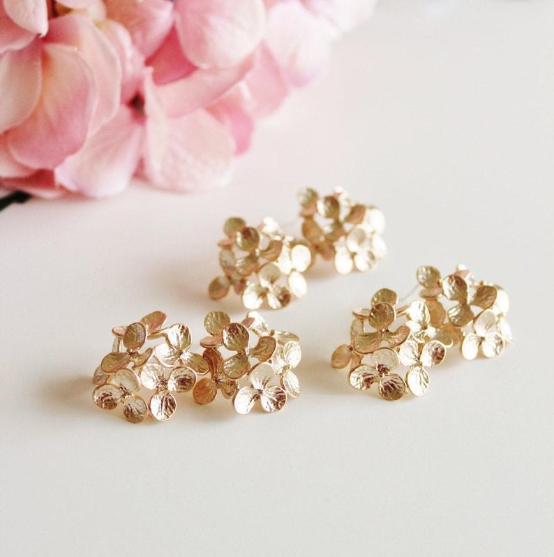 Gold Hydrangea Earrings Bridesmaid Earrings Gold Flower image 0