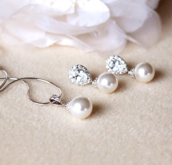 Wedding Gift Set Bridesmaid Gift Jewelry Set Pearl Bridal Etsy
