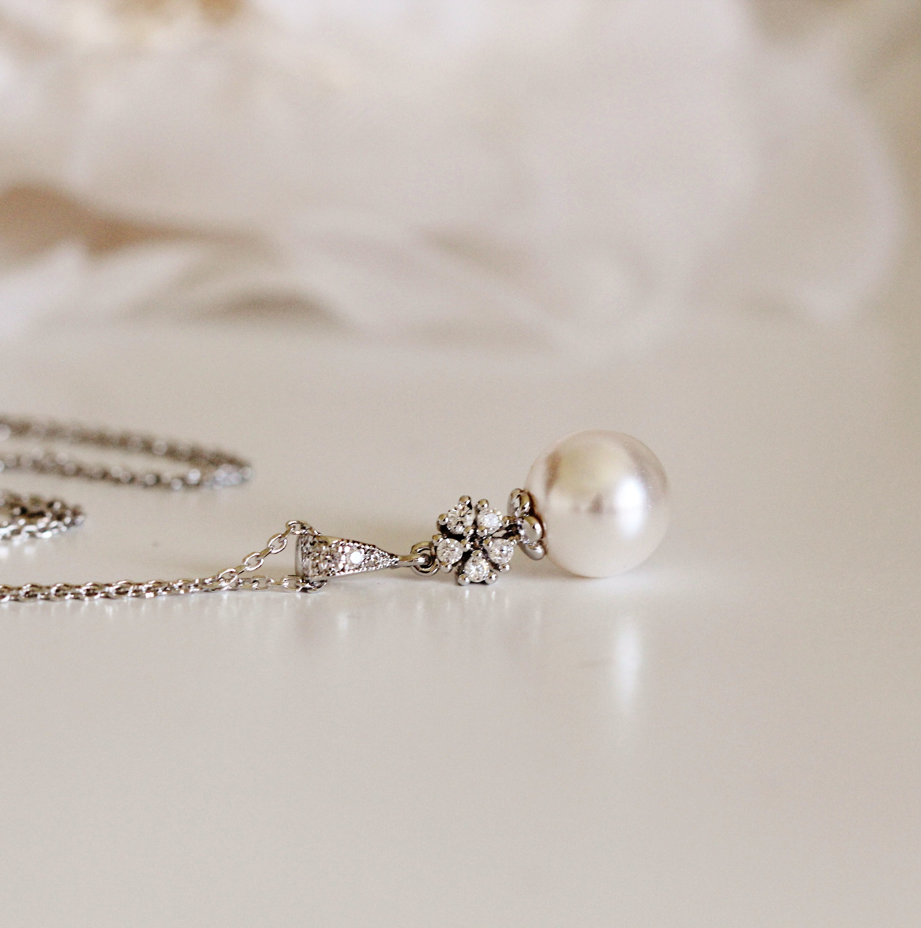 Pearl Bridal Necklace Pearl Wedding Necklace Swarovski Crystal