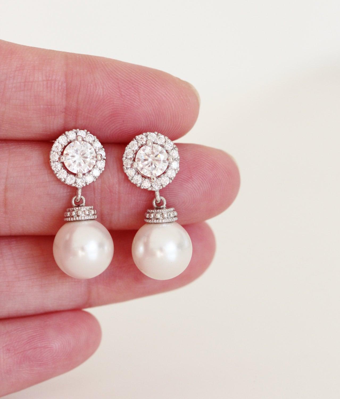 Pearl Bridal Earrings,Pearl Wedding Earrings,Crystal Halo Drop Pearl ...