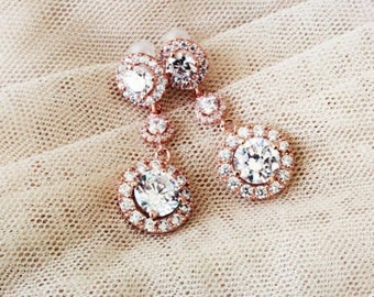 Rose Gold Bridal Earrings Rose Gold Wedding Earrings Rose Gold Earrings Wedding Jewelry Round Halo Earrings Bridal Jewellery