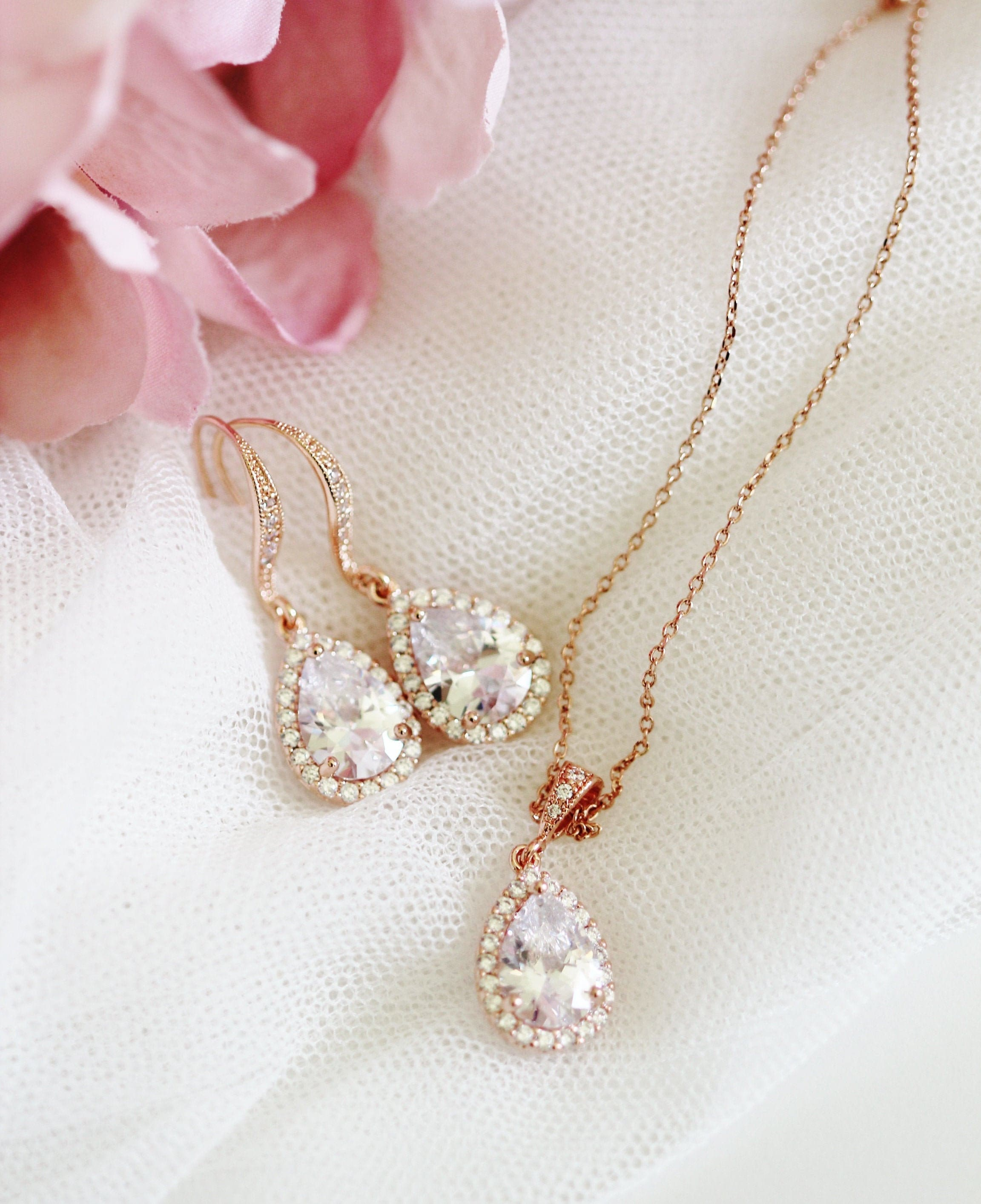 Wedding//Bridal Pretty Pink Flower Crystal Necklace Earrings Set Jewelry Gift