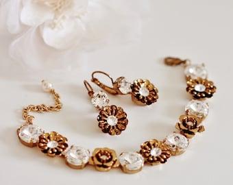 Unique Vintage Style Bridal Earrings and Bracelet Set, Bronze Gold Floral Bridal Jewelry Set Romantic Wedding Jewelry for Brides