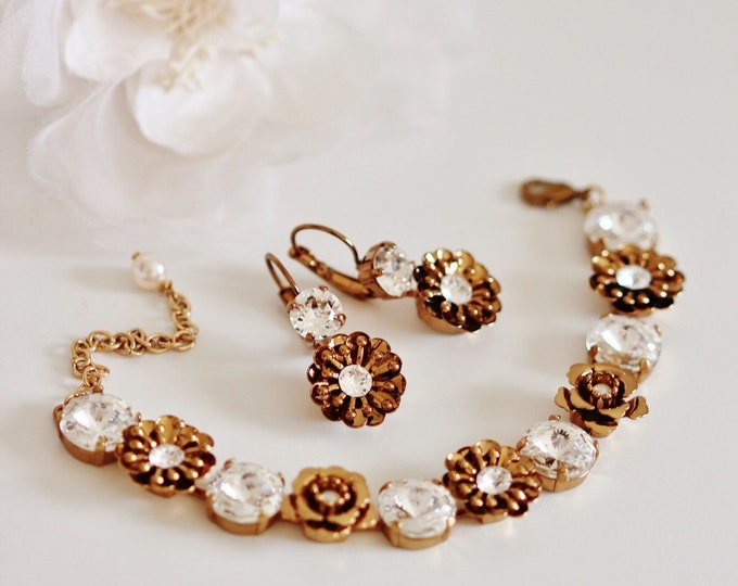 Featured listing image: Unique Vintage Style Bridal Earrings and Bracelet Set, Bronze Gold Flower Crystal Bridal Jewelry Set Romantic Wedding Jewelry for Brides