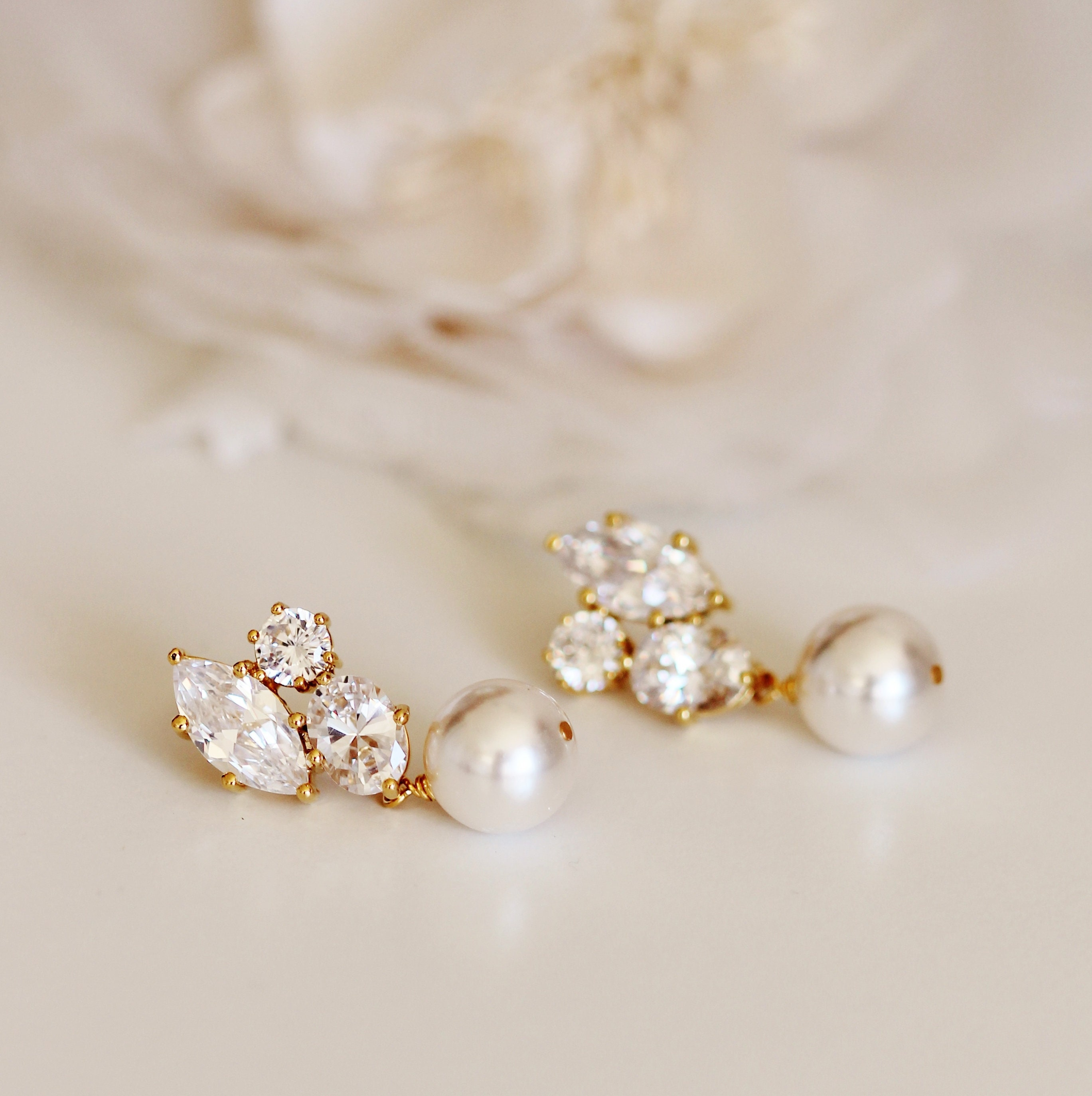 4a6684d6458da Gold Bridal Earrings, Rose Gold White Ivory Swarovski Pearl Earrings,  Bridesmaid Earrings, Gold Wedding Jewelry, Mother Gift E101