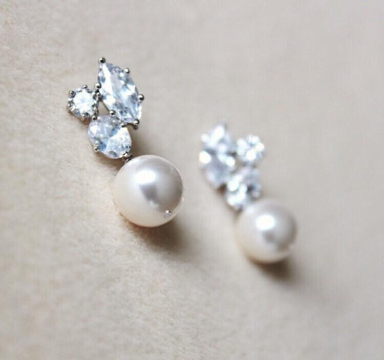 91a671d155f53 Pearl Bridal Earrings, Swarovski Pearl Earrings, Crystal Wedding ...