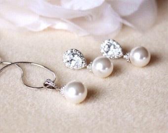 Pearl Bridal Jewelry Set, Wedding Jewelry Set For Brides, Classic Pearl Jewelry Set, Bridesmaid Gift Set, Bridal Set S107