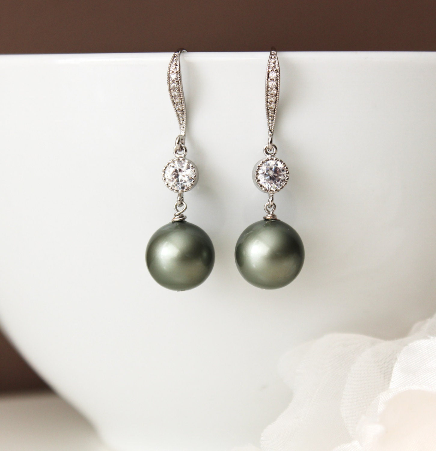 Sage Green Pearl Drop Earrings Spring Country Wedding
