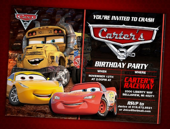 Cars 3 Birthday Invitation Digital File