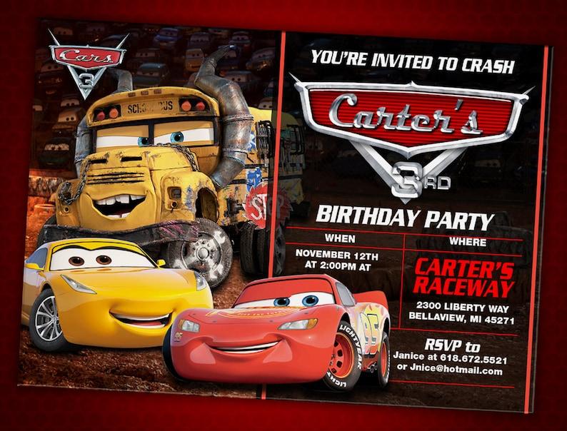 Cars 3 Birthday Invitation Digital File