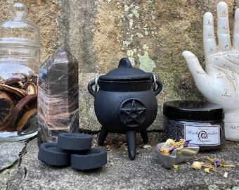 "Mini Samhain Cauldron Set » Witchy Sacred Space Set » 3"" Cauldron with Herbal Incense, Tourmaline Sand, Charcoal Discs » Witch's Cauldron"