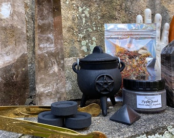 """Mini Cauldron Set » Witchy Sacred Space Set » 3"""" Cauldron with Herbal Incense, Pyrite Sand, and Charcoal Discs » Witch's Cauldron"""