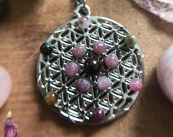 Flower of Life Necklace // Watermelon Tourmaline, Lepidolite, and Garnet Crystal Grid Necklace // Sacred Geometry Necklace