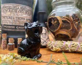 Hissing Cat Totem » Screaming Black Cat Carving » Howling Black Obsidian Crystal Cat » Cat Animal Guide » Witch's Familiar