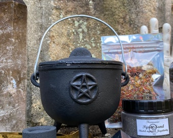 """Small Cauldron Set » Witchy Sacred Space Set » 4.5"""" Cauldron with Herbal Incense, Pyrite Sand, and Charcoal Discs » Witch's Cauldron"""