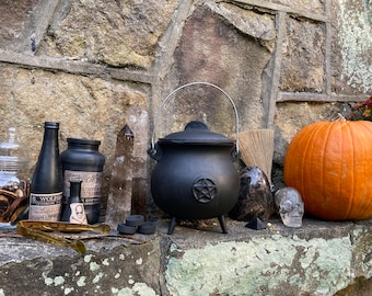 """Large Cauldron Set » Witchy Sacred Space Set » 7.5"""" Cauldron with Herbal Incense, Pyrite Sand, and Charcoal Discs » Witch's Cauldron"""