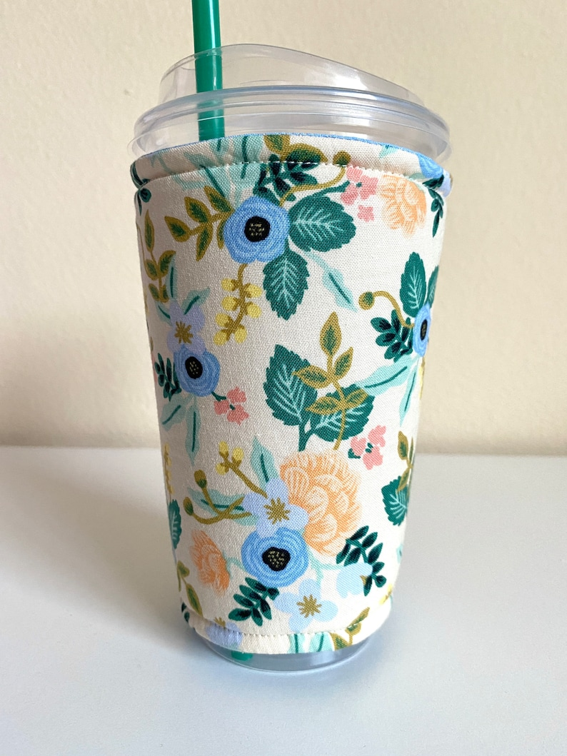 Rifle Paper Co. Birch Blush Fabric Iced Coffee Cozy Sleeve for image 0