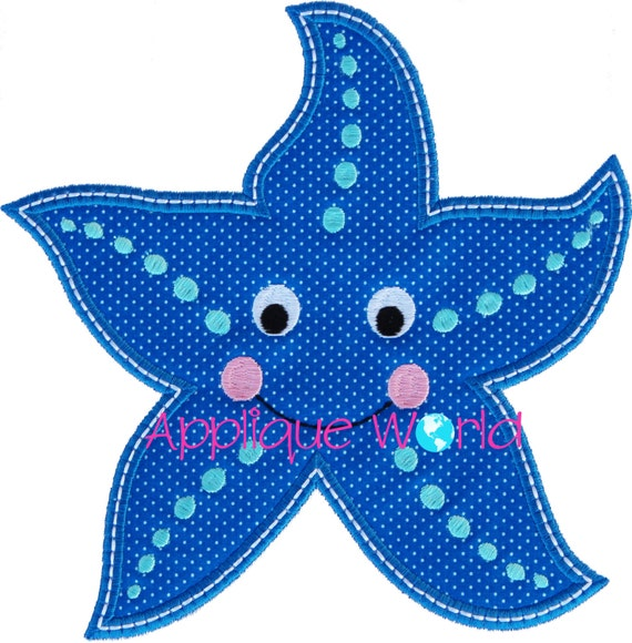 Happy Starfish Applique Embroidery Design Etsy