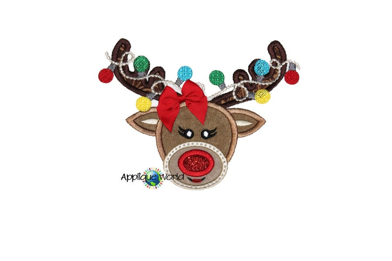 Reindeer girl with lights applique embroidery design etsy