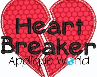 Heartbreaker Applique Embroidery-Instant Digital Download-Machine Applique Embroidery-Kid Applique Pattern-V-Day Heart  Breaker Applique.