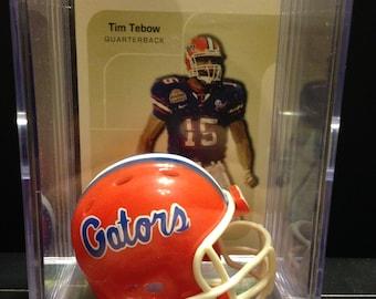 Tim Tebow College NFL Mini Helmet Shadowbox w  card 9bbc13796