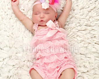 289eab0b2 Light Pink Baby Lace Romper, baby clothing, Newborn Ruffle Lace Baby  Clothes, Ruffle Lace Infant Toddler Outfit, Baby Rompers No Strap/Bow
