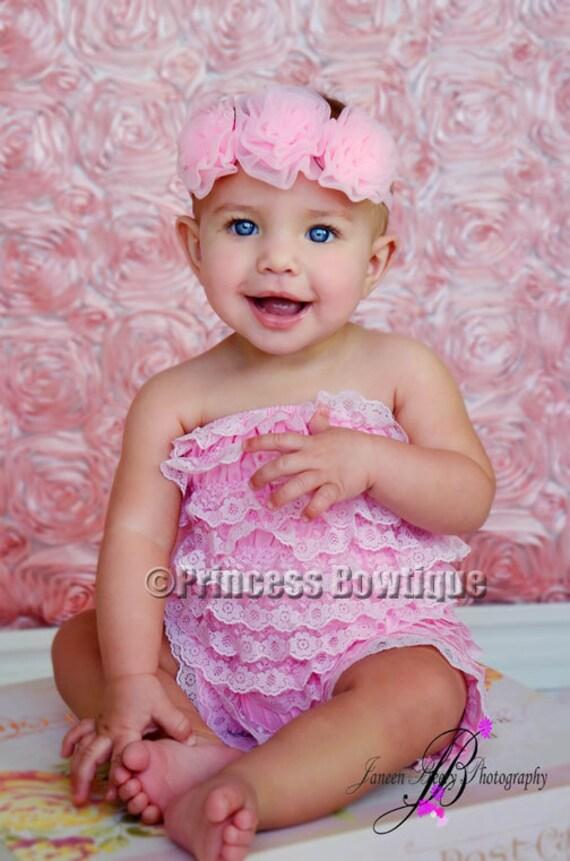 ac6e14dc88f Baby Pink Petti Lace Romper No Straps Premium Newborn Ruffle