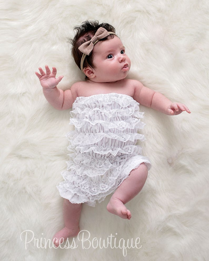 7fdfe479fb169 White Baby Romper, Newborn Romper, Lace Romper Set, baby girl clothes,  Baptism Outfit, Strapless White Petti Lace Romper, Photo prop