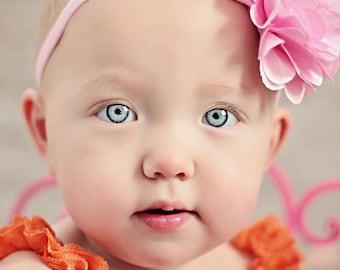 Pink Flower Headband, Pink Headband, Infant headband, flower girl Headband, Sale on Pink Scarlet Baby Girl Headband