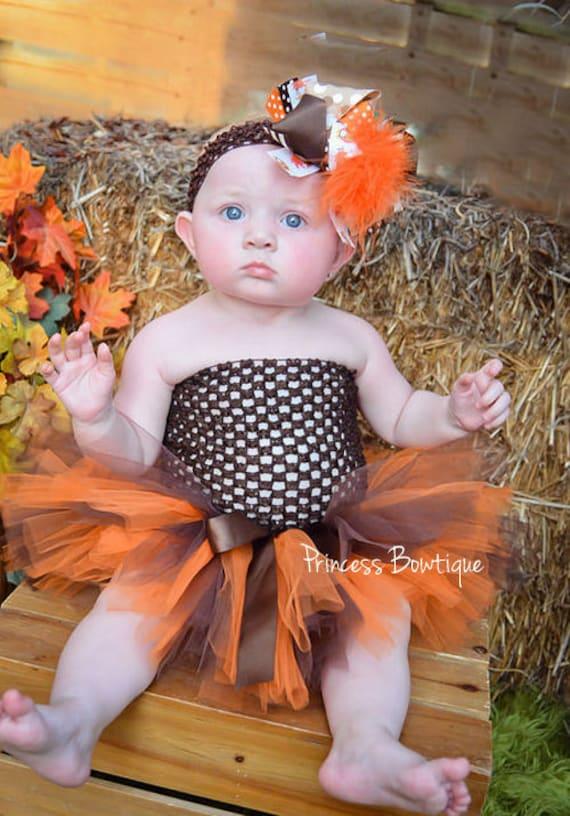 a746e9711b9 Fall Baby Tutu Dress Brown Orange Baby Tutu Thanksgiving