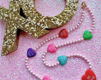 Sweet Like Candy - Candy Conversation Heart Beads With Pink Pearls