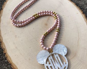 Custom Long Acrylic Monogram Mouse Necklace