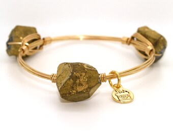 Titanium Plated Gold Quartz Nugget Wire Wrapped Bangle