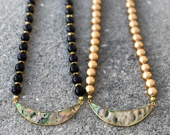 Spring 2018 Mini Collection Abalone Crescent Short Necklace - Navy Goldstone or Wood Beads