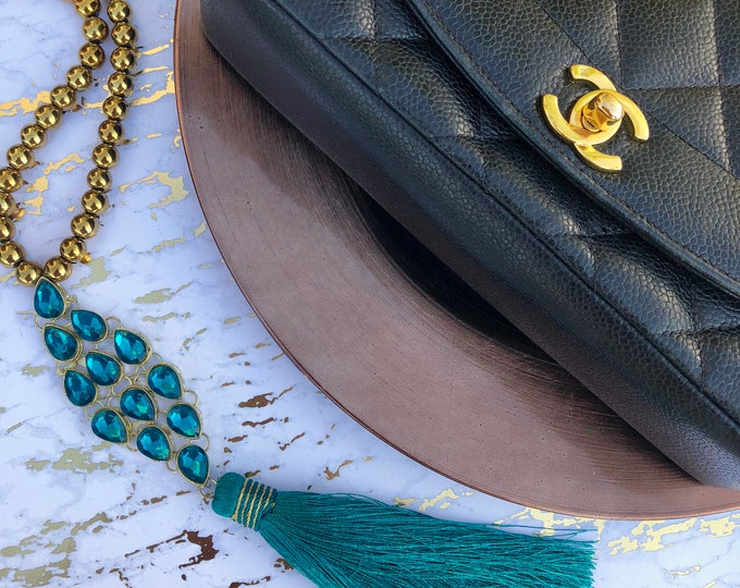 The Emerald Plume - Jeweled Tassel Necklace