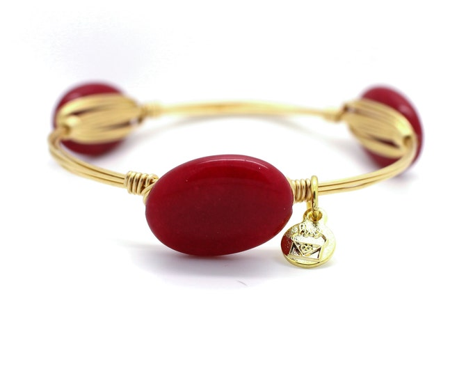 Crimson Jade Wire Wrapped Bangle