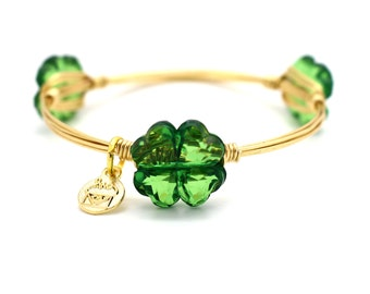 Acylic Four Leaf Clover Wire Wrapped Bangle - St. Patrick's Day