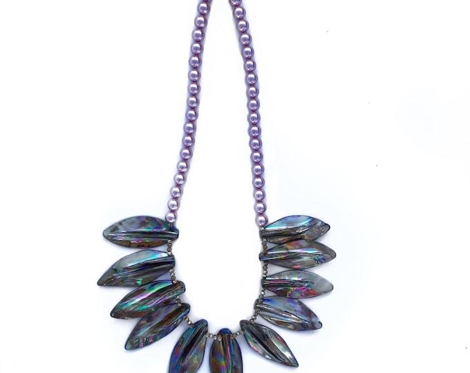 Grey Aurora Borealis Shell Necklace