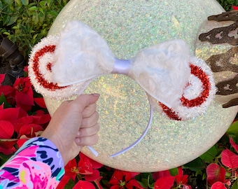 Fuzzy Peppermint Swirl Holiday Park Ears