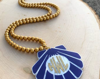 Custom Long Monogram Shell Necklace