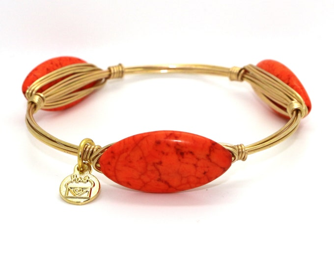 Orange Howlite Turquoise Wire Wrapped Bangle