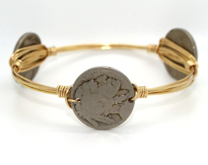Buffalo Nickel Wire Wrapped Bangle
