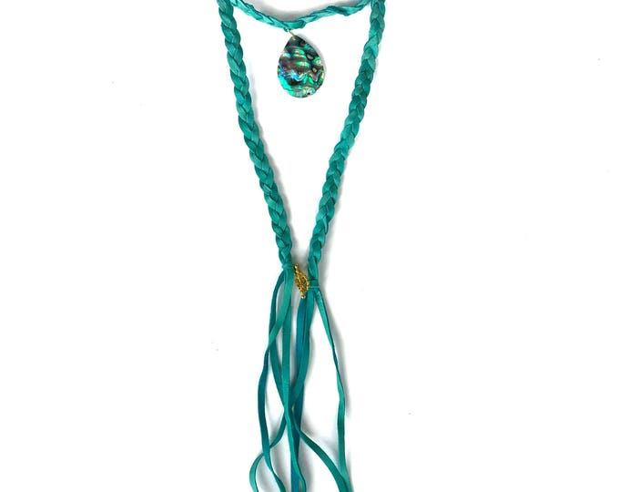 Teal Braided Leather Wrap Choker